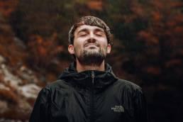 Daniel J. Schwarz in the rain.