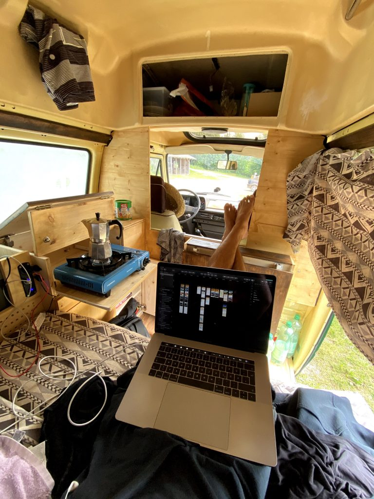 working in a van