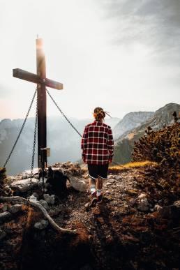 Reching the summit cross!